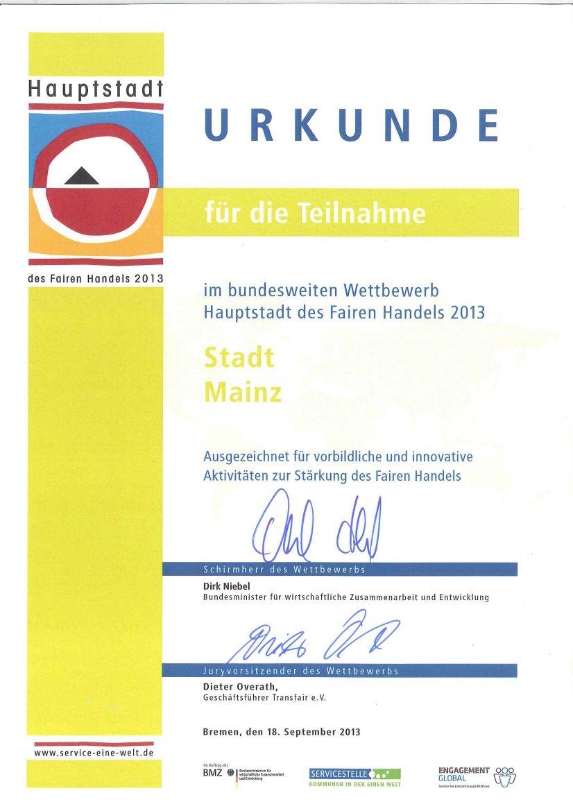 Urkunde 2013